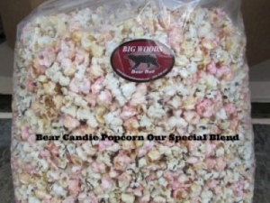 Bags of Wild Cherry Bomb Candied Popcorn